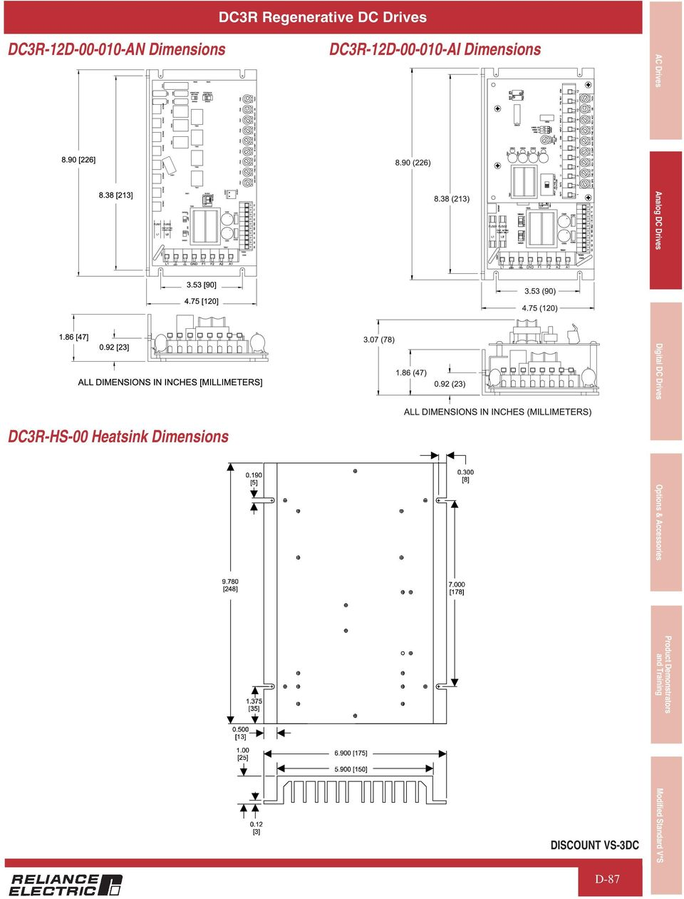 DC3R-12D-00-010-AI Dimensions AC Drives Analog DC Drives