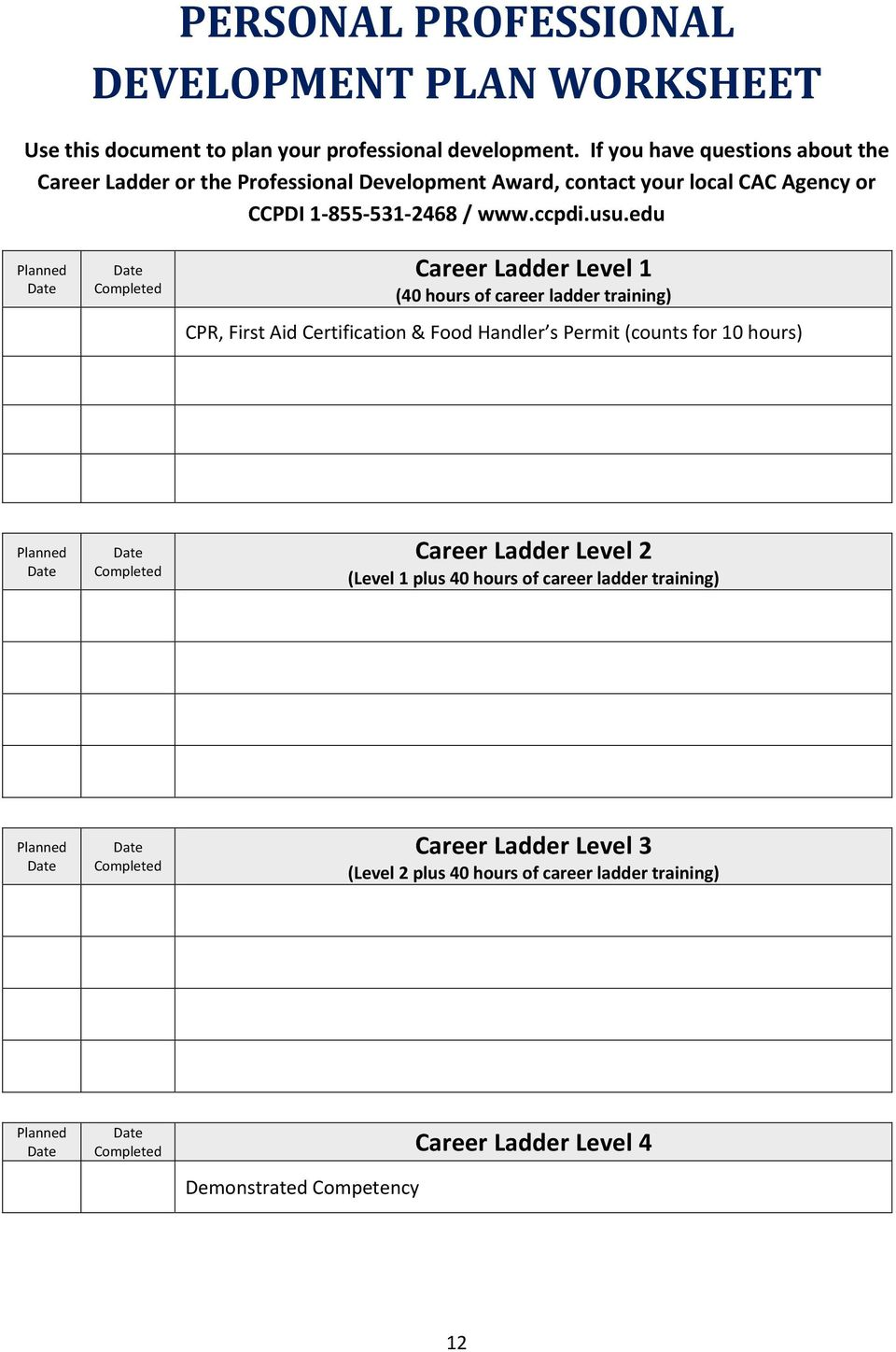 edu Planned Career Ladder Level 1 (40 hours of career ladder training) CPR, First Aid Certification & Food Handler s Permit (counts for 10 hours) Planned