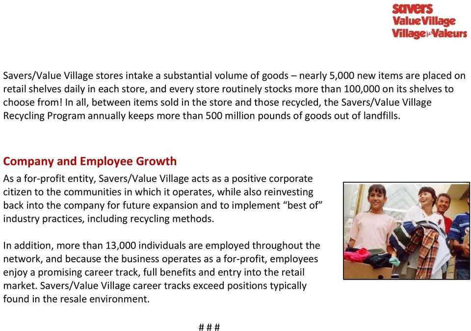 Saversvalue village fact sheet pdf company and employee growth as a for profit entity saversvalue village acts as fandeluxe Gallery