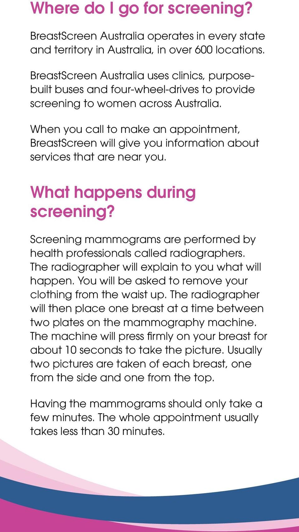 When you call to make an appointment, BreastScreen will give you information about services that are near you. What happens during screening?