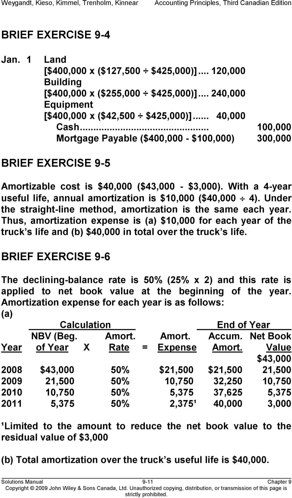 Under the straight-line method, amortization is the same each year. Thus, amortization expense is (a) $10,000 for each year of the truck s life and (b) $40,000 in total over the truck s life.