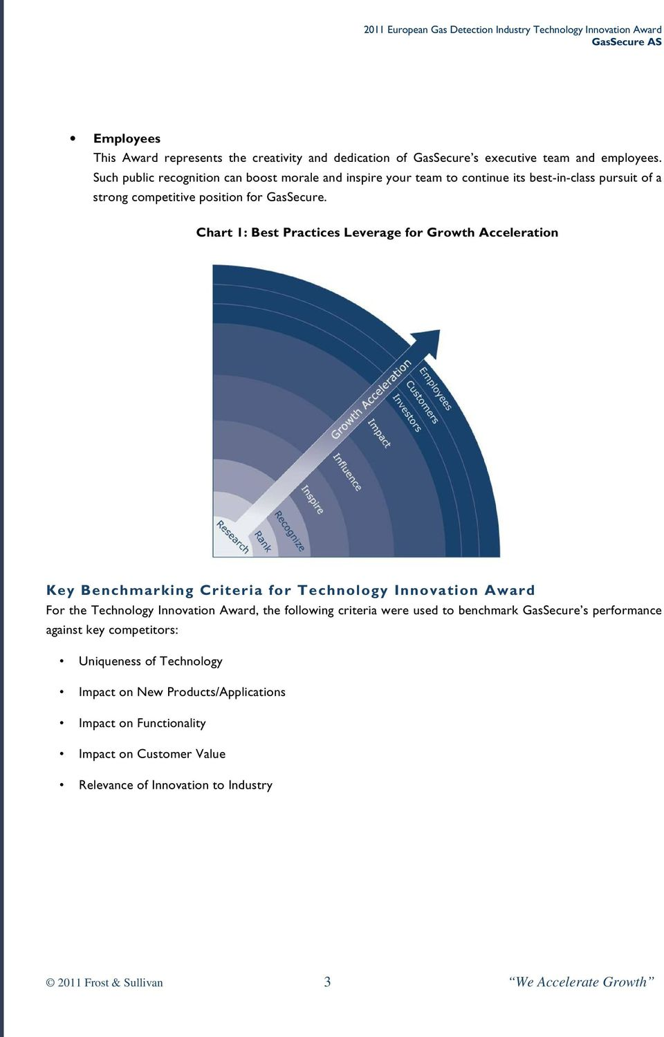 Chart 1: Best Practices Leverage for Growth Acceleration Key Benchmarking Criteria for Technology Innovation Award For the Technology Innovation Award, the following