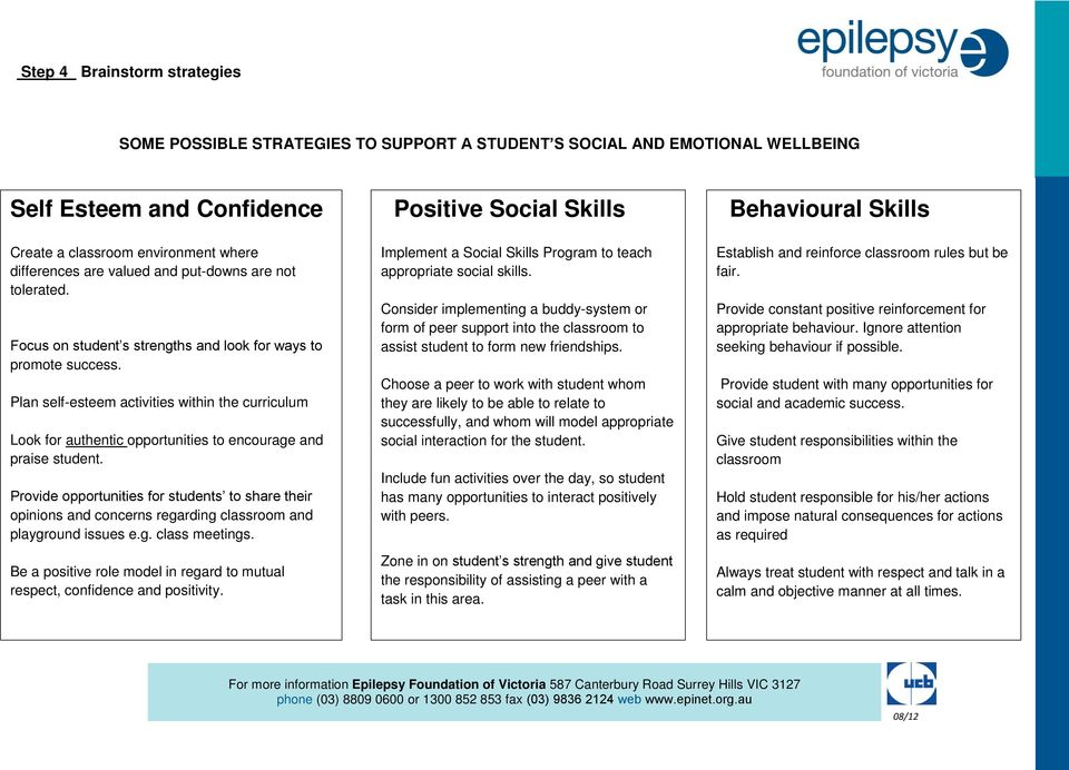 Plan self-esteem activities within the curriculum Look for authentic opportunities to encourage and praise student.
