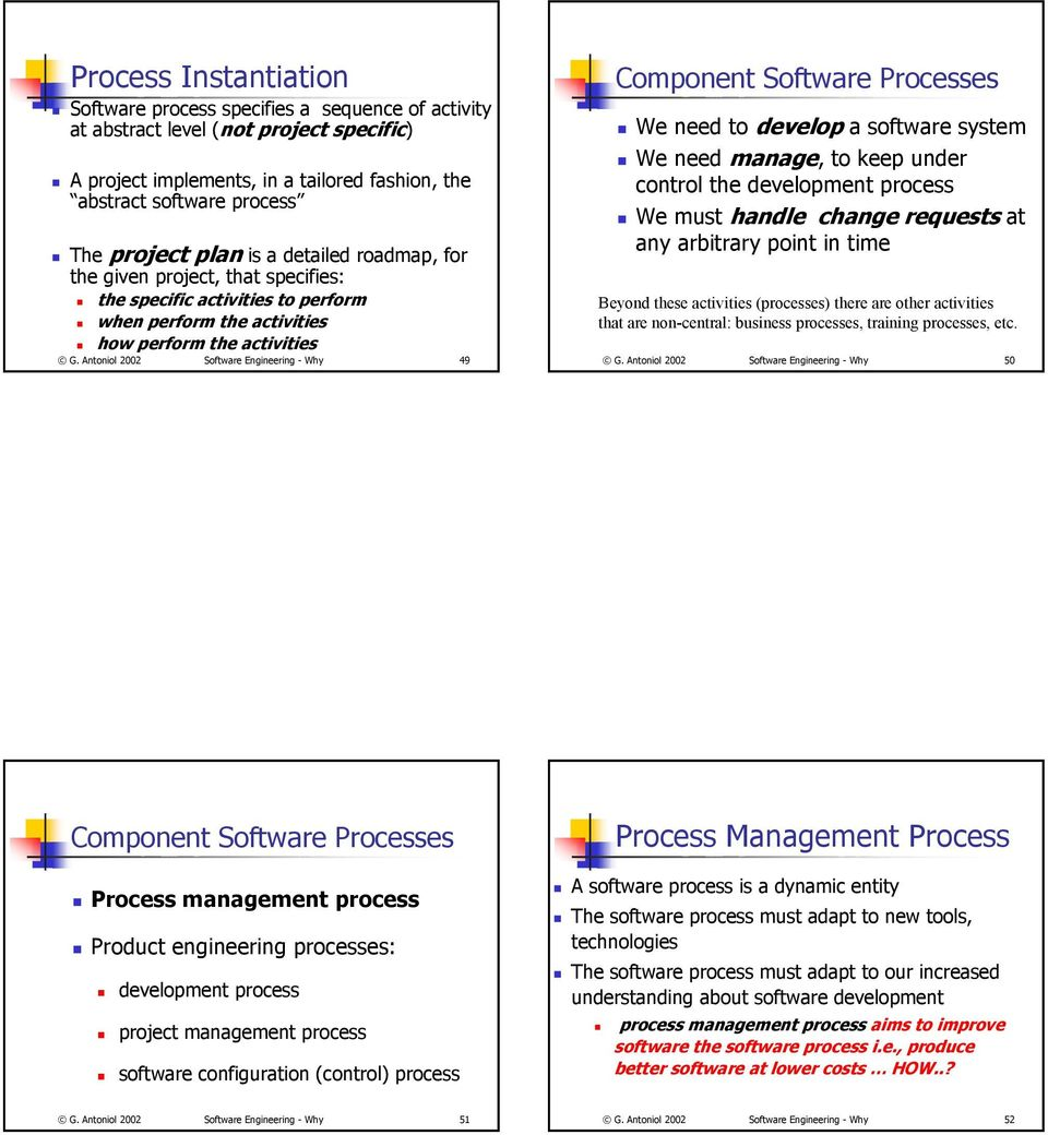 Antoniol 2002 Software Engineering - Why 49 Component Software Processes We need to develop a software system We need manage, to keep under control the development process We must handle change