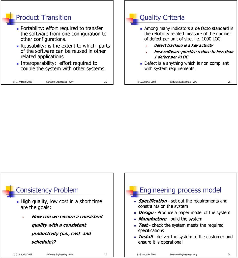 Quality Criteria Among many indicators a de facto standard is the reliability related measure of the number of defect per unit of size, i.e. 1000 LOC defect tracking is a key activity best software practice reduce to less than 1 defect per KLOC Defect is a anything which is non compliant with system requirements.