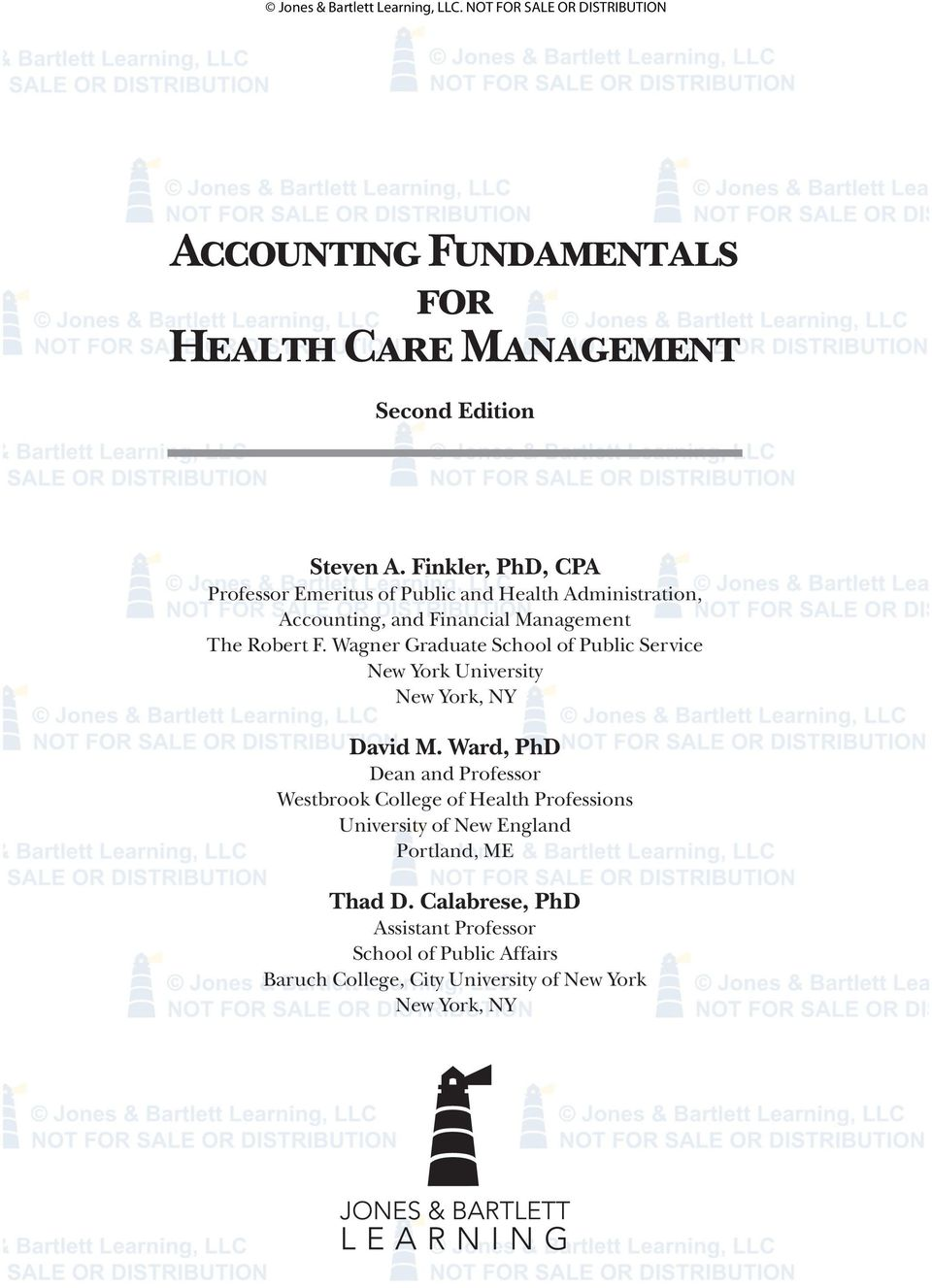 Accounting fundamentals for health care management pdf wagner graduate school of public service new york university new york ny david m fandeluxe Choice Image