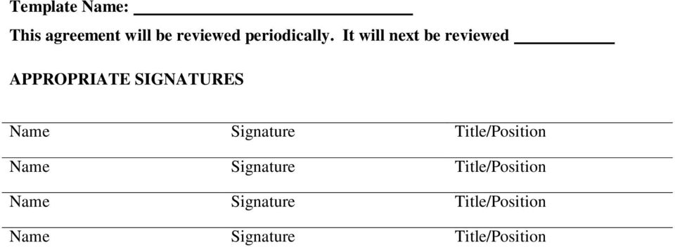 It will next be reviewed APPROPRIATE SIGNATURES Name
