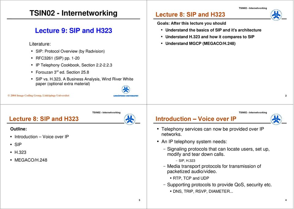 323, A Business Analysis, Wind River White paper (optional extra material) 2004 Image Coding Group, Linköpings Universitet 2 Outline: Introduction Voice over IP SIP H.323 MEGACO/H.