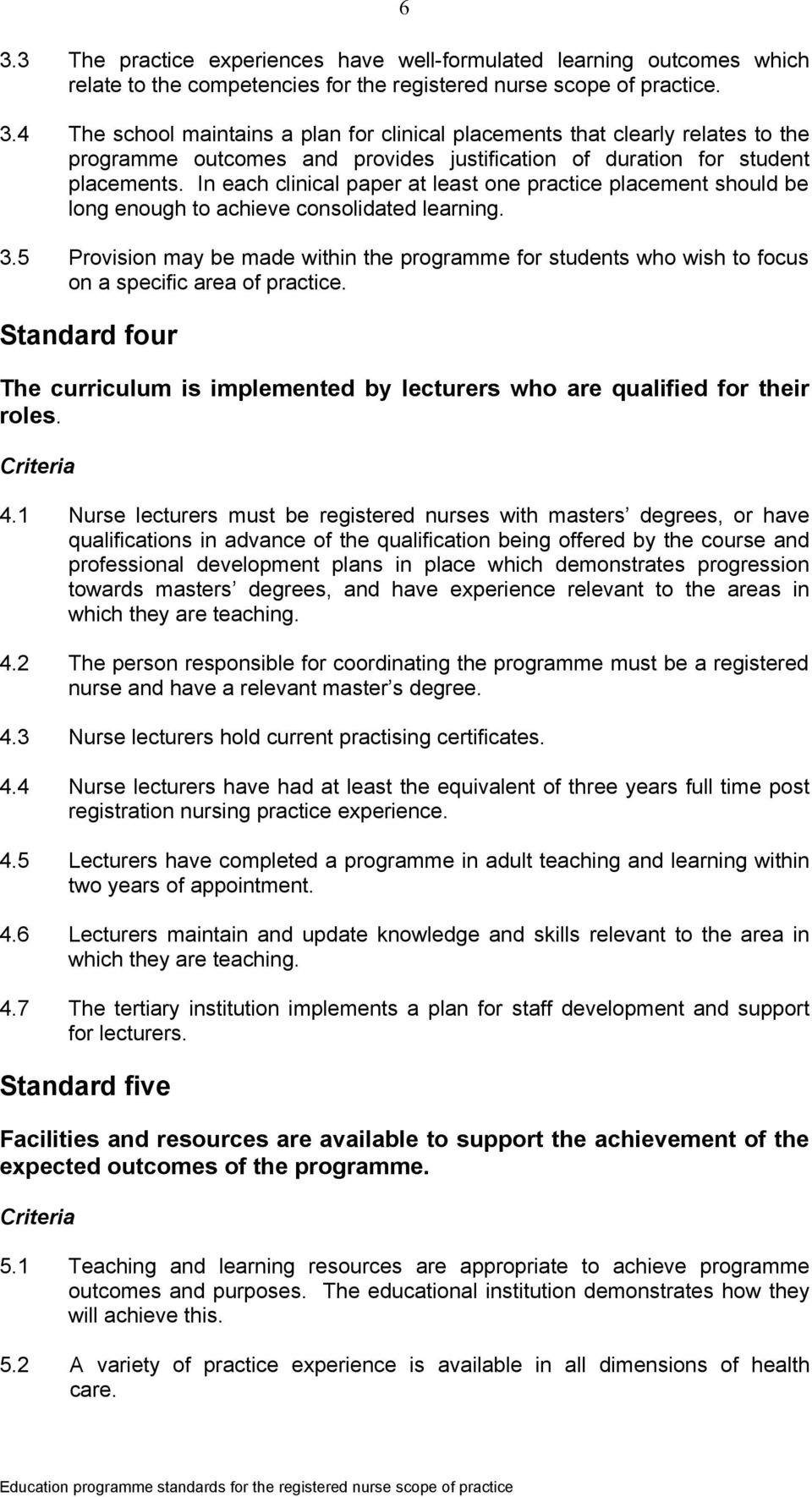 5 Provision may be made within the programme for students who wish to focus on a specific area of practice. Standard four The curriculum is implemented by lecturers who are qualified for their roles.