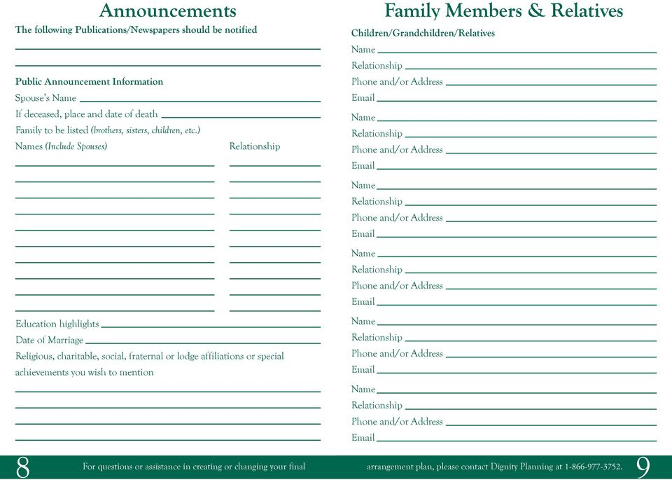) s (Include Spouses) Family Members & Relatives Children/Grandchildren/Relatives Education highlights Date