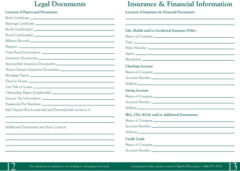 Deposit Box Location(s) and Person(s) with access to it Additional Documents and their Location Insurance & Financial Information Location of Insurance & Financial Documents Life, Health and/or