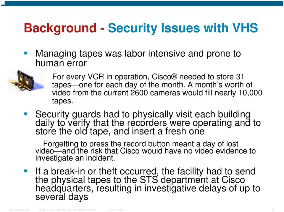 Security guards had to physically visit each building daily to verify that the recorders were operating and to store the old tape, and insert a fresh one Forgetting to press the record
