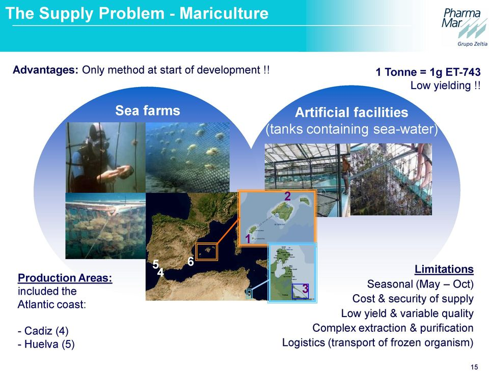 ! Sea farms Artificial facilities (tanks containing sea-water) 2 1 Production Areas: included the Atlantic
