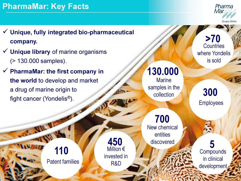 PharmaMar: the first company in the world to develop and market a drug of marine origin to fight cancer (Yondelis ).