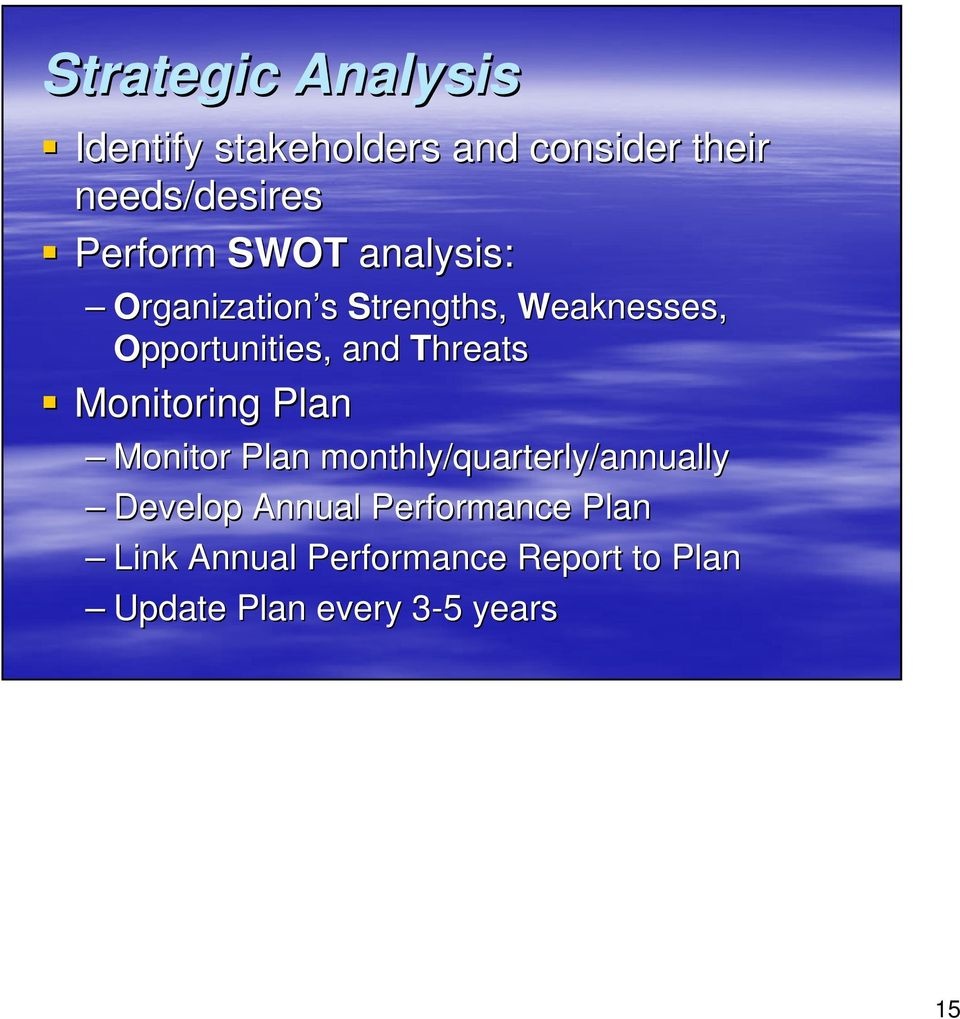 Threats Monitoring Plan Monitor Plan monthly/quarterly/annually Develop Annual