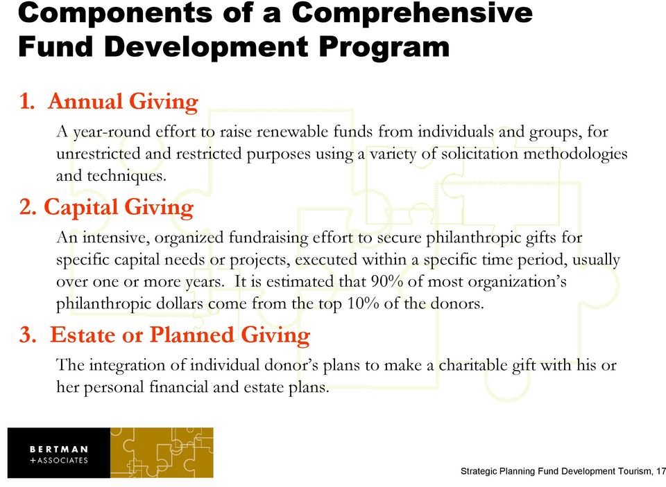 2. Capital Giving An intensive, organized fundraising effort to secure philanthropic gifts for specific capital needs or projects, executed within a specific time period, usually over one