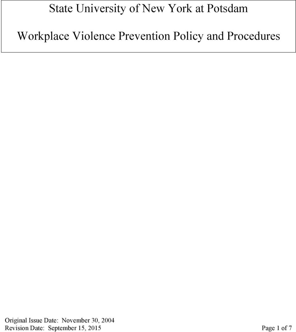 Prevention Policy and Procedures