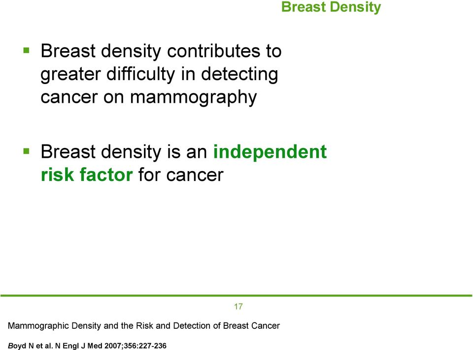 independent risk factor for cancer Mammographic Density and the