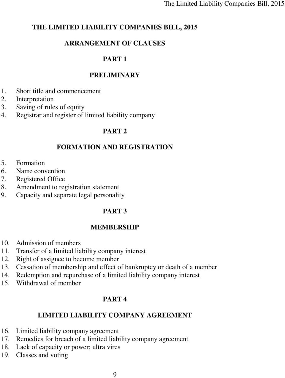 Capacity and separate legal personality PART 3 MEMBERSHIP 10. Admission of members 11. Transfer of a limited liability company interest 12. Right of assignee to become member 13.