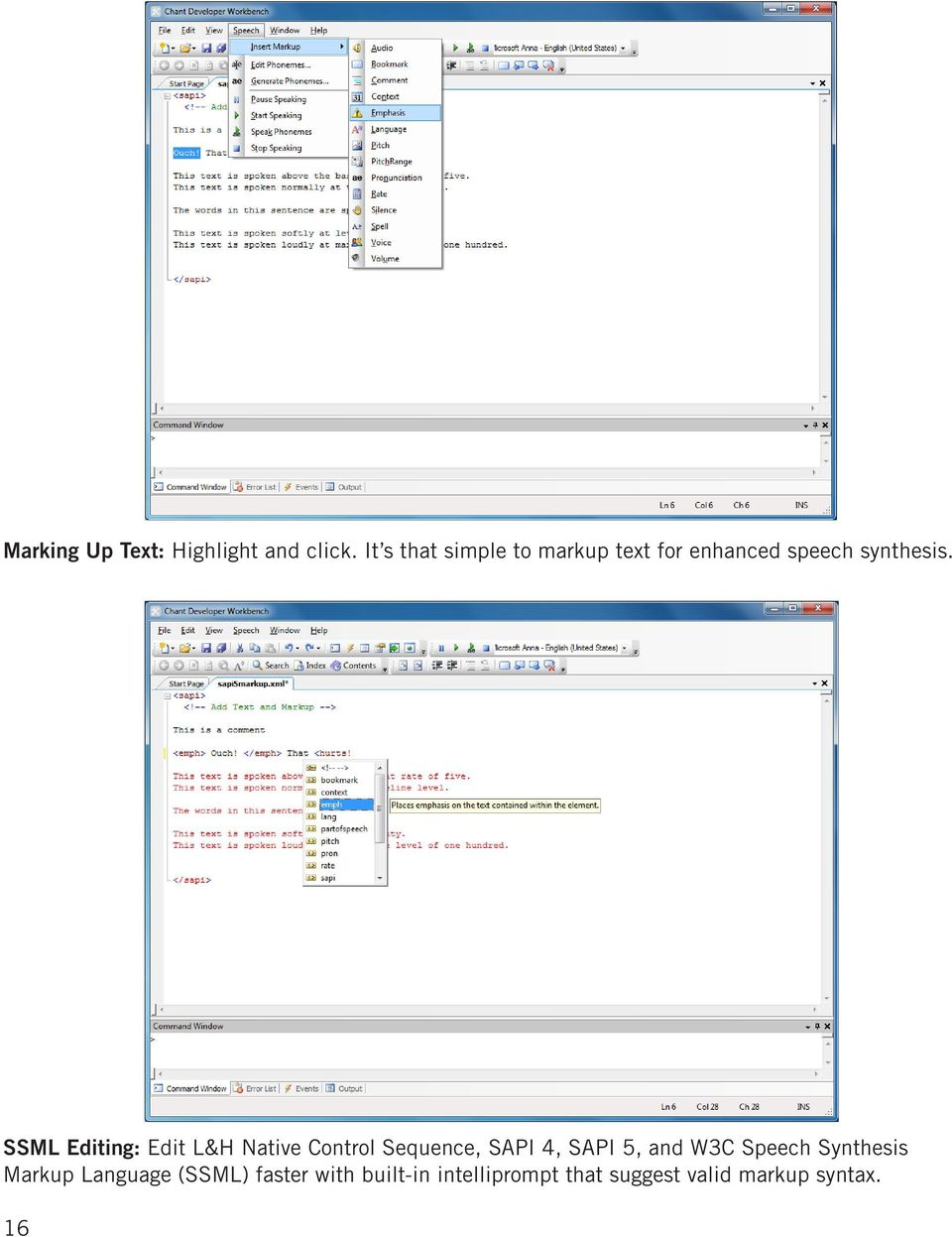 SSML Editing: Edit L&H Native Control Sequence, SAPI 4, SAPI 5, and