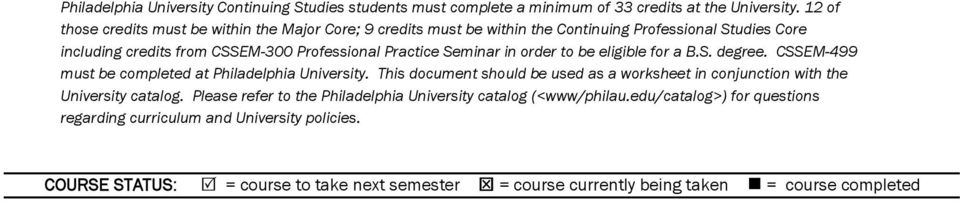 Seminar in order to be eligible for a B.S. degree. CSSEM-499 must be completed at Philadelphia University.