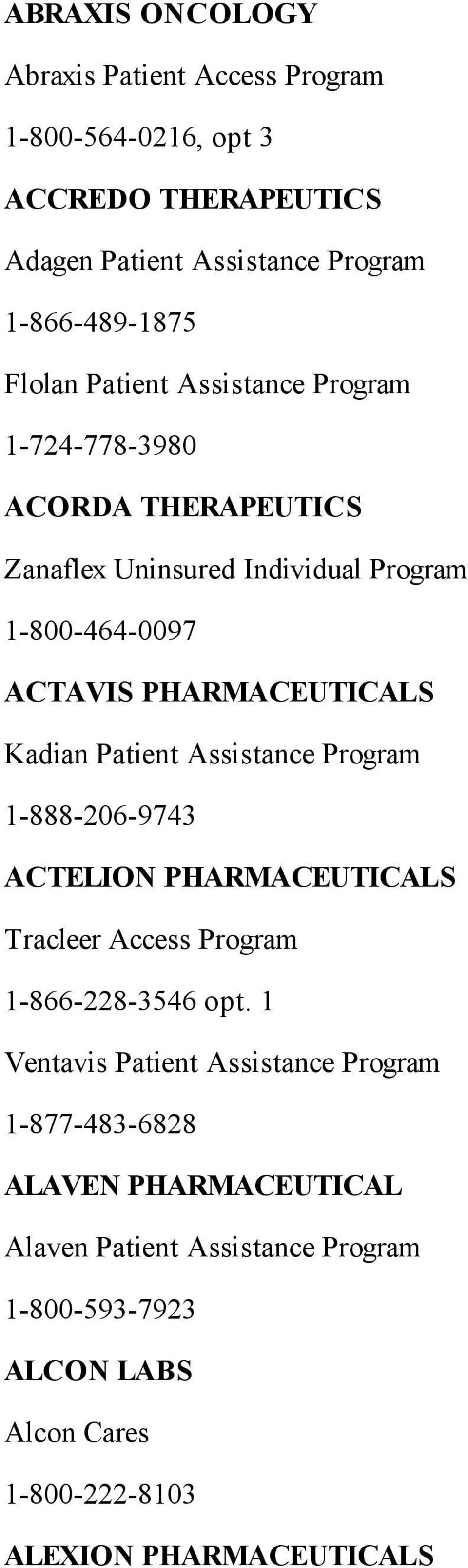 Patient Assistance Program 1-888-206-9743 ACTELION PHARMACEUTICALS Tracleer Access Program 1-866-228-3546 opt.