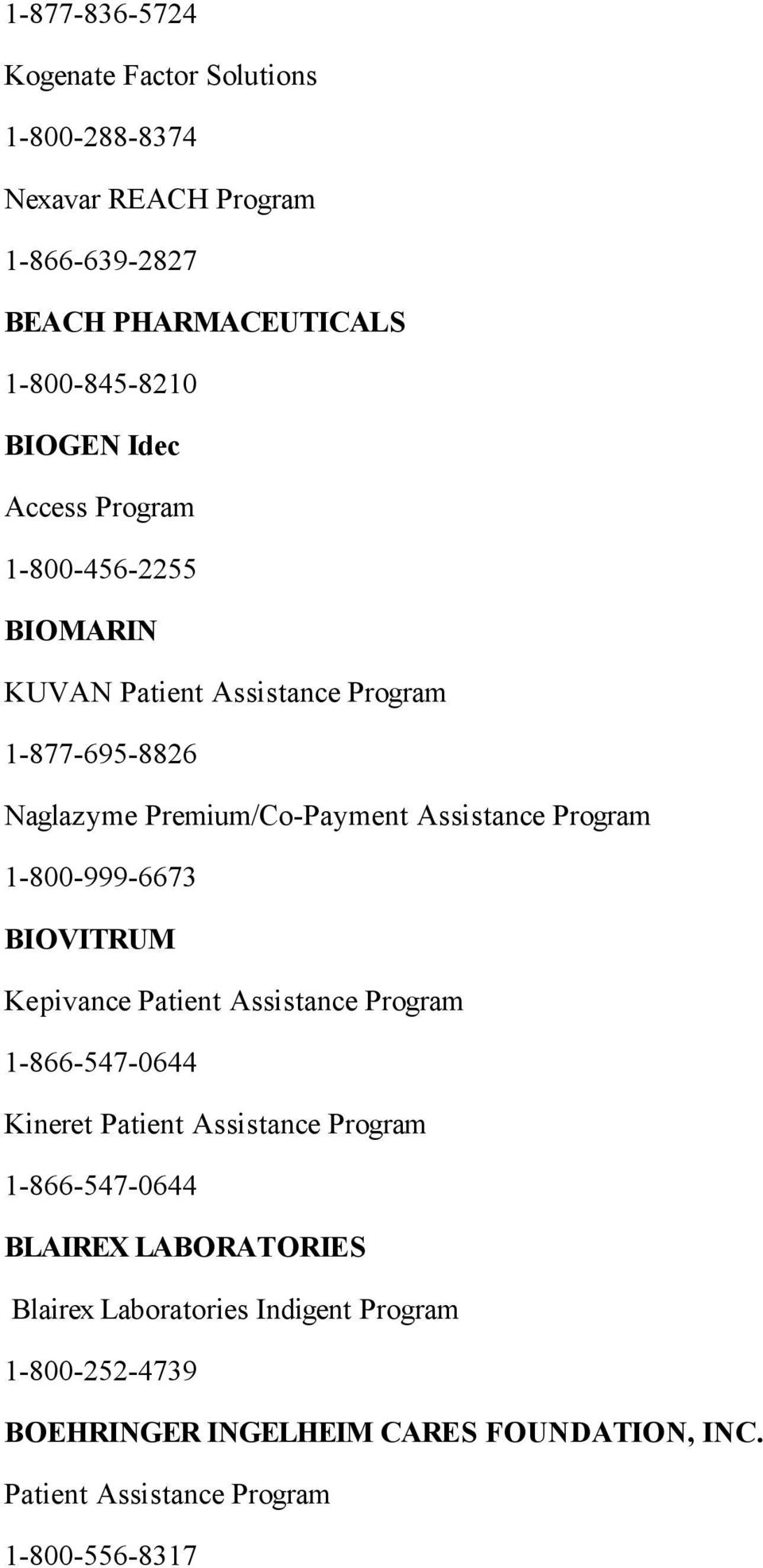 1-800-999-6673 BIOVITRUM Kepivance Patient Assistance Program 1-866-547-0644 Kineret Patient Assistance Program 1-866-547-0644 BLAIREX