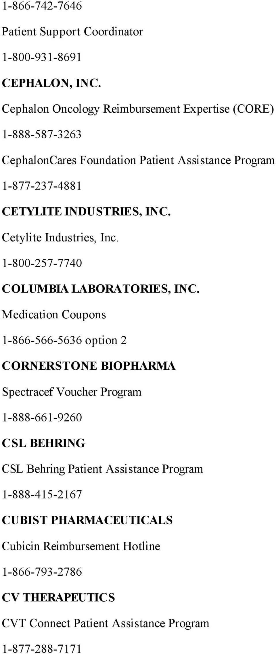 INC. Cetylite Industries, Inc. 1-800-257-7740 COLUMBIA LABORATORIES, INC.