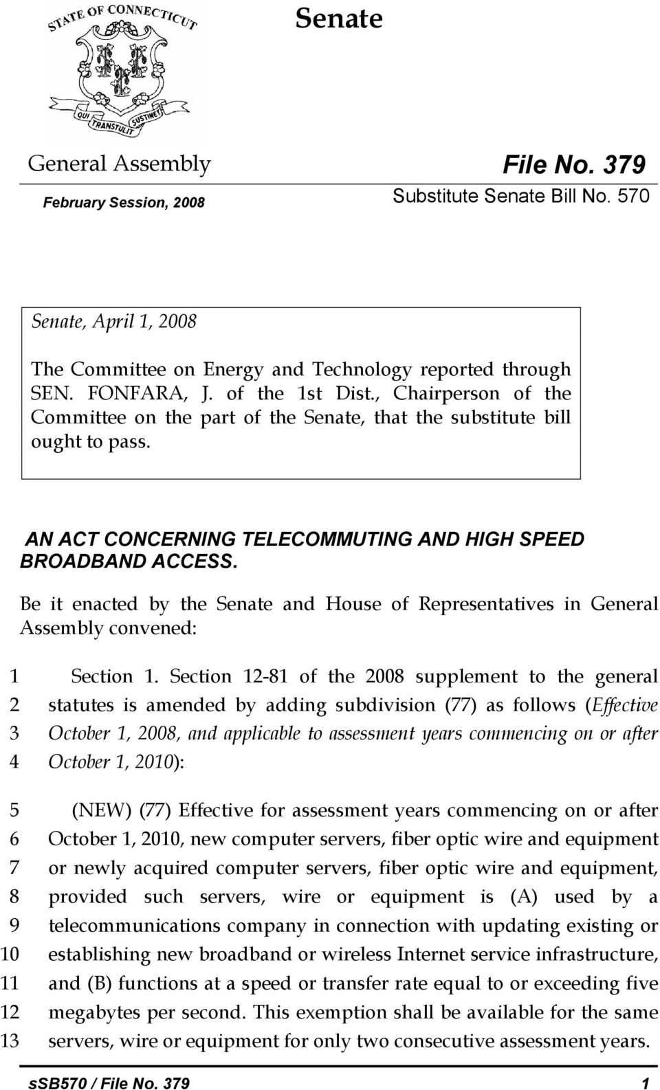 Be it enacted by the Senate and House of Representatives in General Assembly convened: 1 2 3 4 5 6 7 8 9 10 11 12 13 Section 1.