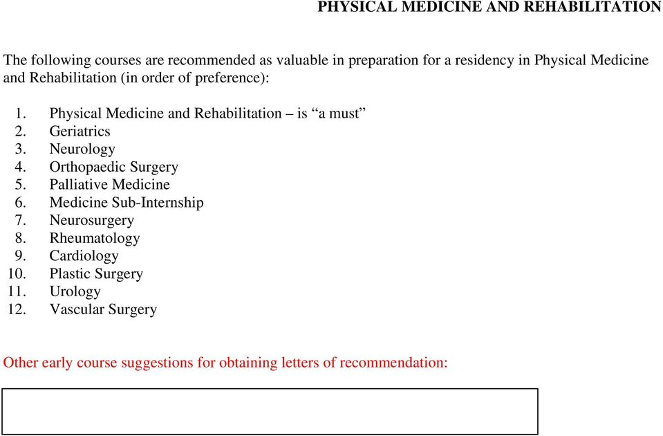 Physical Medicine and Rehabilitation is a must 2. Geriatrics 3. Neurology 4. Orthopaedic Surgery 5.