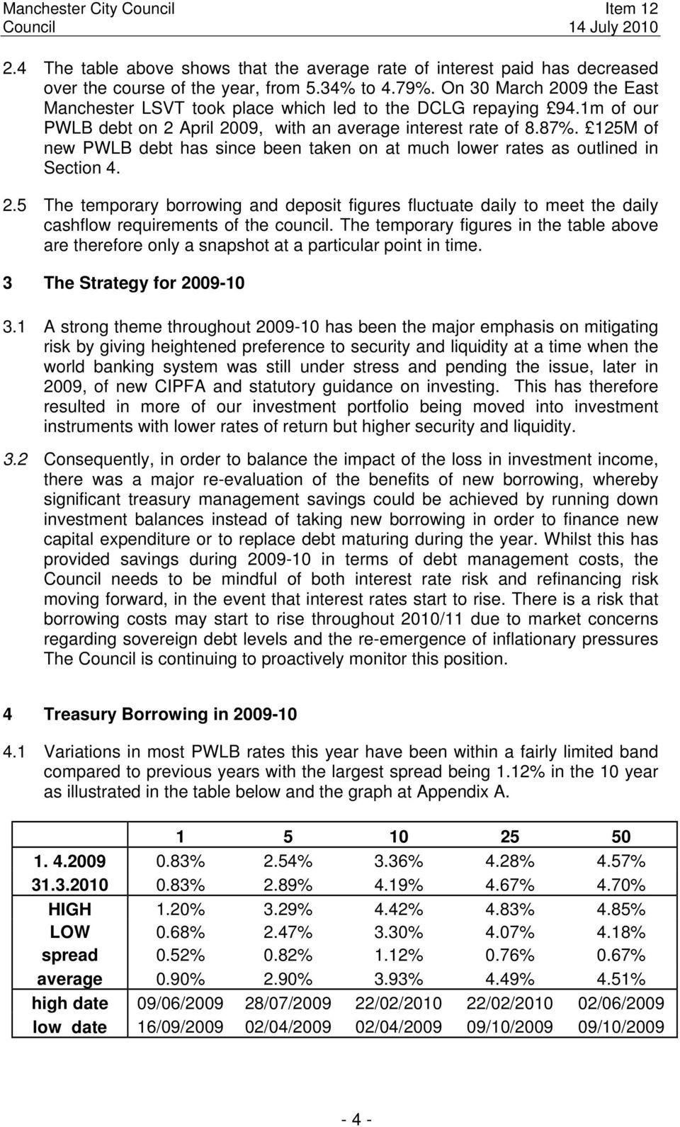 125M of new PWLB debt has since been taken on at much lower rates as outlined in Section 4. 2.