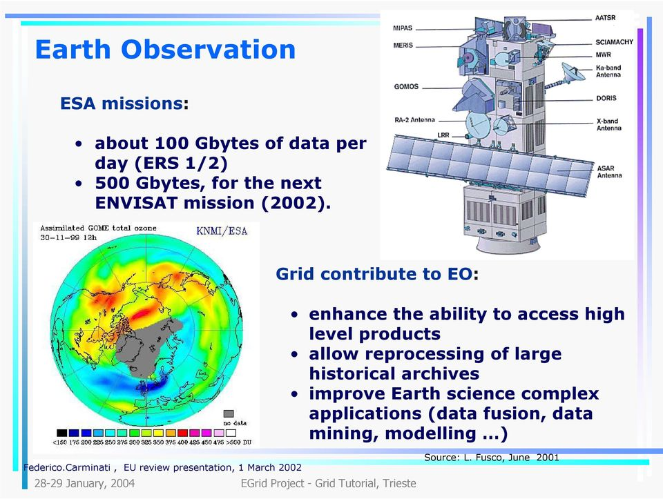 Grid contribute to EO: enhance the ability to access high level products allow reprocessing of large