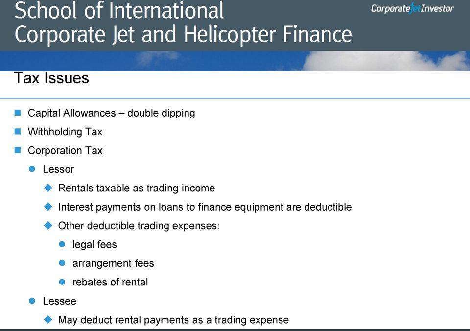 equipment are deductible Other deductible trading expenses: legal fees