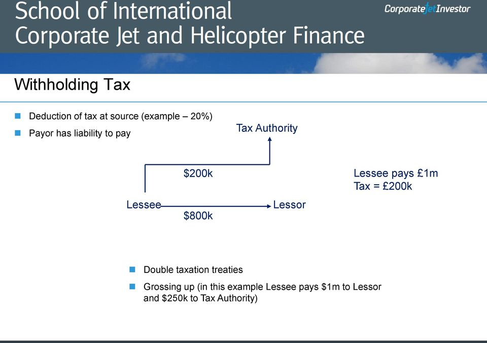Lessee pays 1m Tax = 200k Double taxation treaties Grossing up