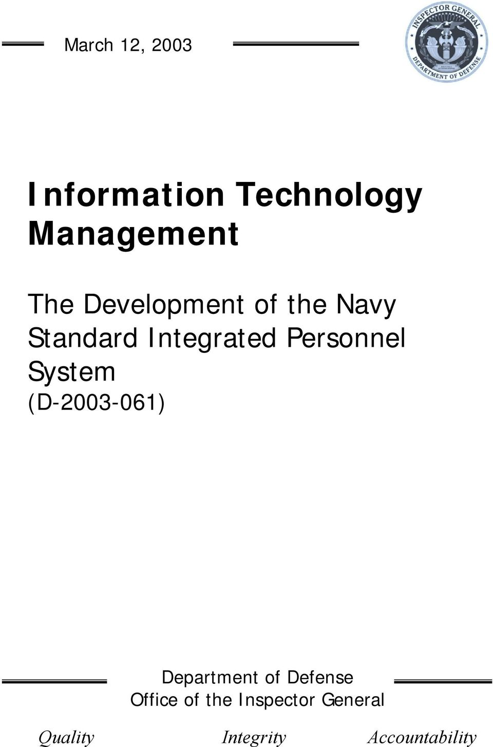 System (D-2003-061) Department of Defense Office of