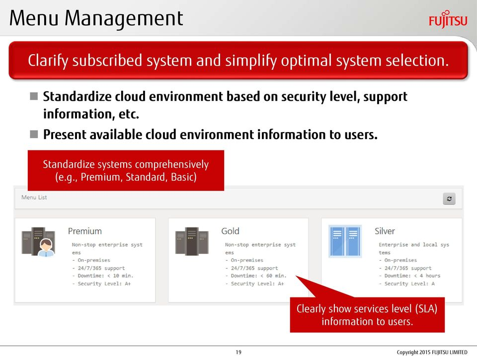 Present available cloud environment information to users.