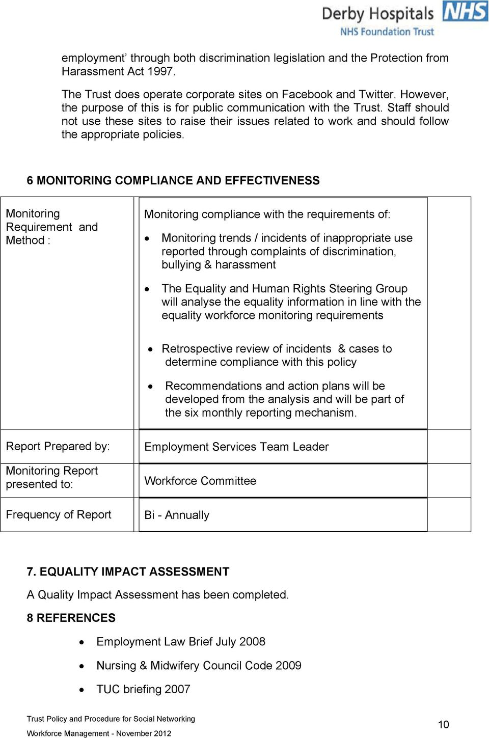 6 MONITORING COMPLIANCE AND EFFECTIVENESS Monitoring Requirement and Method : Monitoring compliance with the requirements of: Monitoring trends / incidents of inappropriate use reported through