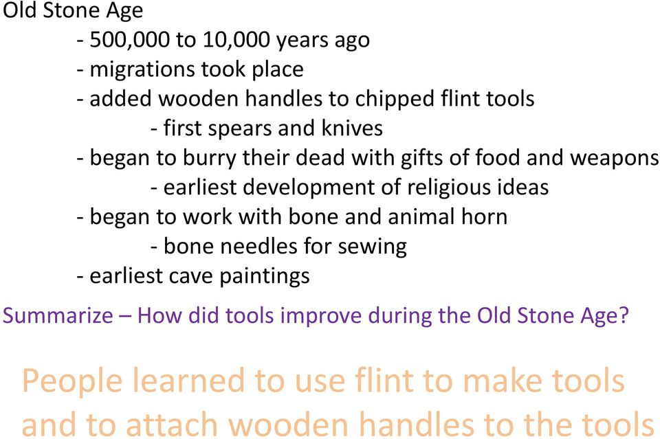 ideas - began to work with bone and animal horn - bone needles for sewing - earliest cave paintings Summarize How did