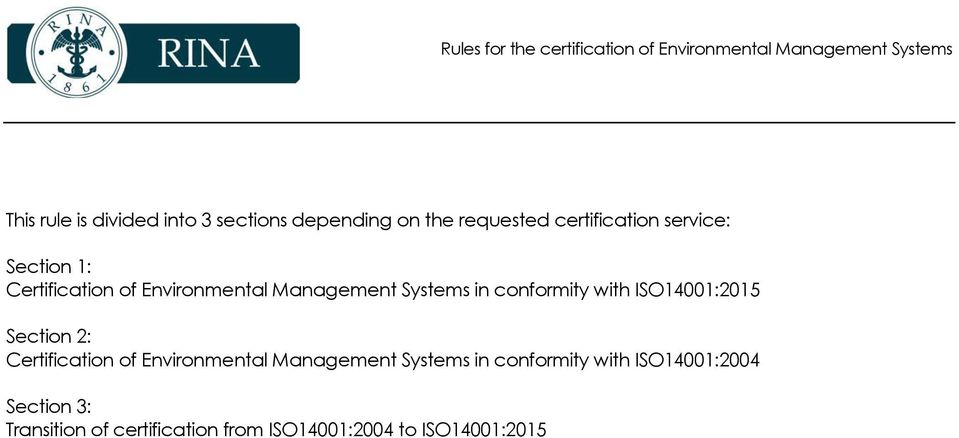 ISO14001:2015 Section 2: Certification of Environmental Management Systems in