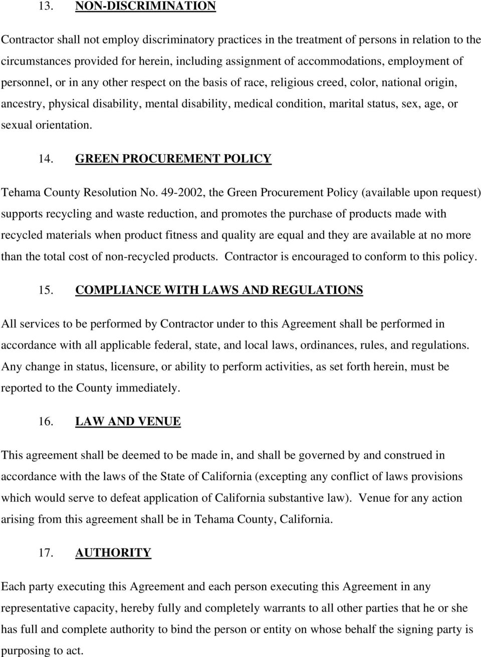 sex, age, or sexual orientation. 14. GREEN PROCUREMENT POLICY Tehama County Resolution No.