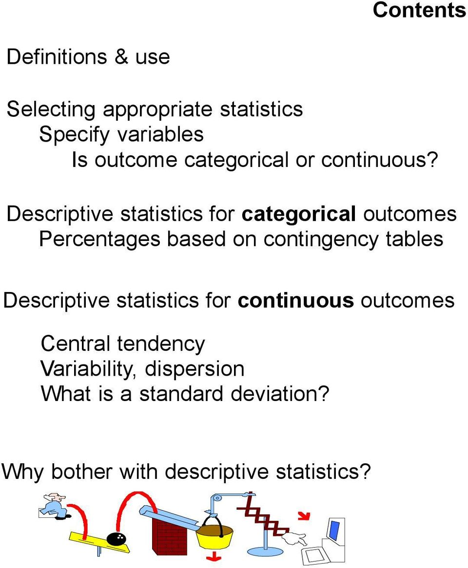 Descriptive statistics for categorical outcomes Percentages based on contingency tables