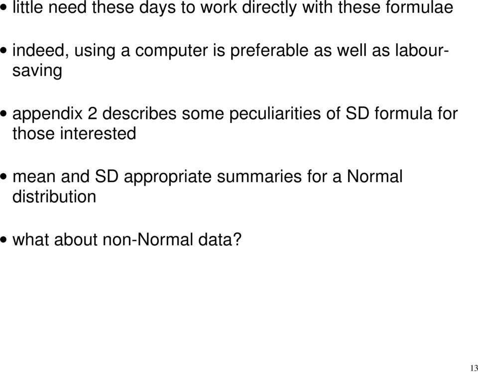 describes some peculiarities of SD formula for those interested mean