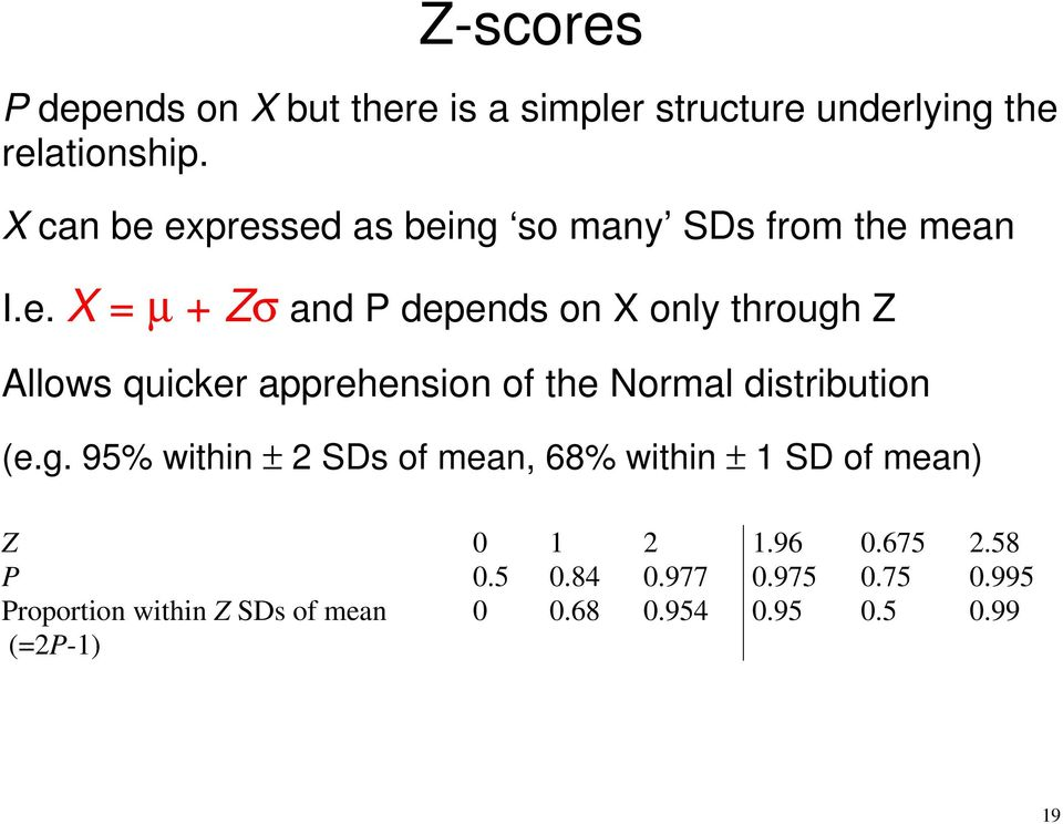 expressed as being so many SDs from the mean I.e. X = µ + Zσ and P depends on X only through Z Allows
