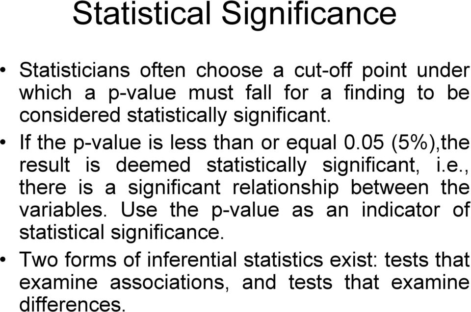 05 (5%),the result is deemed statistically significant, i.e., there is a significant relationship between the variables.