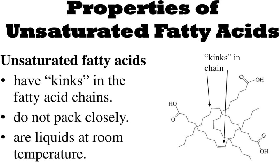 fatty acid chains. do not pack closely.