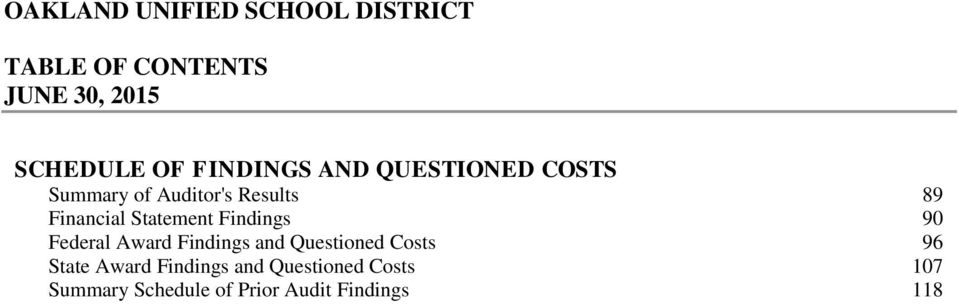 90 Federal Award Findings and Questioned Costs 96 State Award