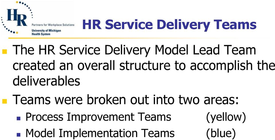 deliverables Teams were broken out into two areas: