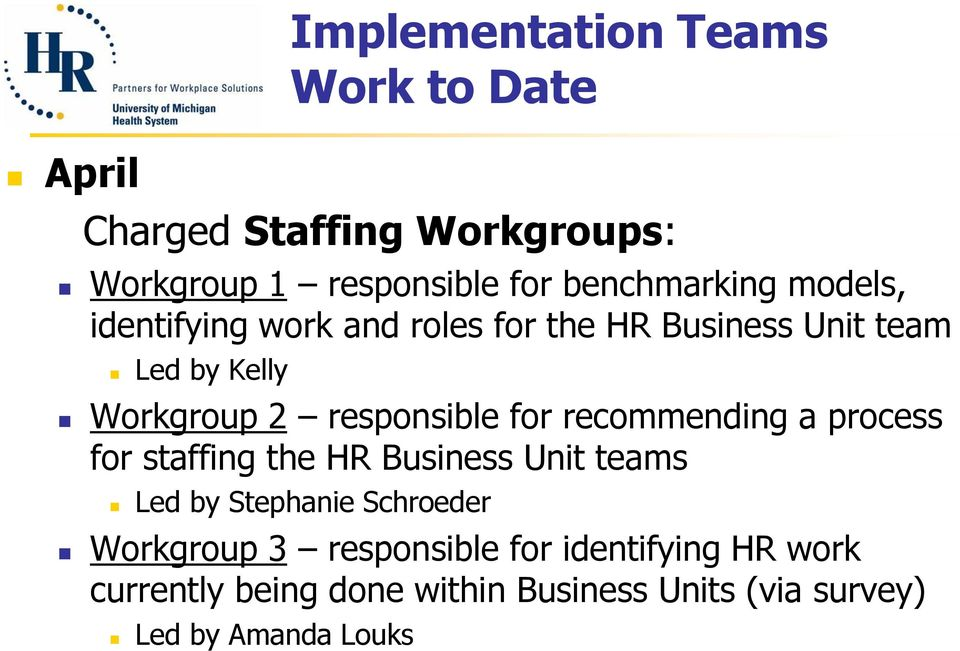 responsible for recommending a process for staffing the HR Business Unit teams Led by Stephanie Schroeder