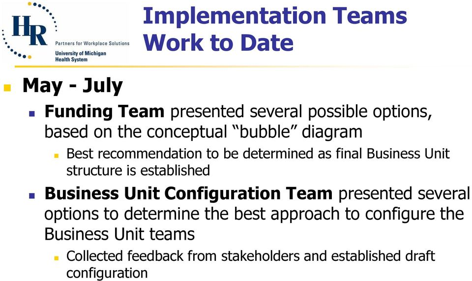 established Business Unit Configuration Team presented several options to determine the best approach to