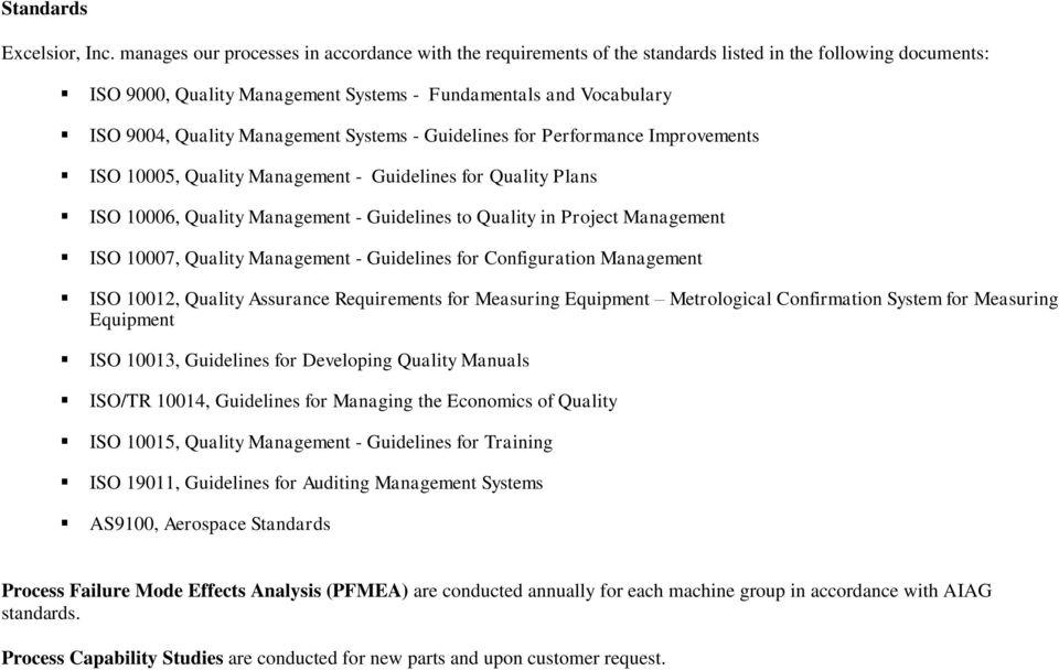 Management Systems - Guidelines for Performance Improvements ISO 10005, Quality Management - Guidelines for Quality Plans ISO 10006, Quality Management - Guidelines to Quality in Project Management
